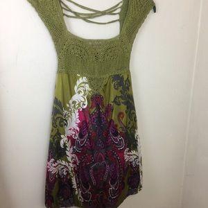 BeBe Silk Bubble Hem Dress. Multi Colors. Sz S.